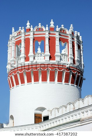 One of the towers of the Novodevichy convent in Moscow