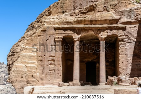 One of the treasuries in  Petra, the capital of the kingdom of the Nabateans in ancient times. UNESCO World Heritage - stock photo