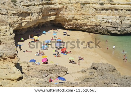 "One of the typical beaches at the coast of South Portugal near ""Portimao"""