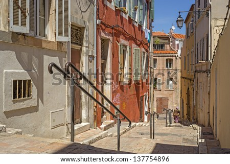 """One of the typical stairways in the historic quarter """"Le Panier"""" in Marseille in South France - stock photo"""