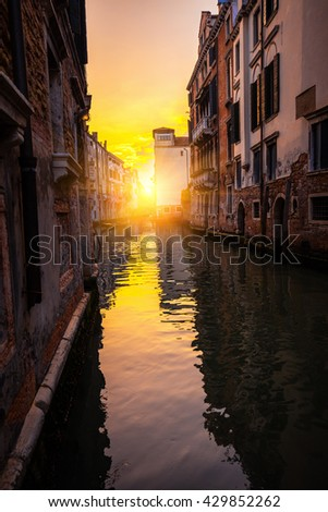One of the Venetian streets at sunset, Italy