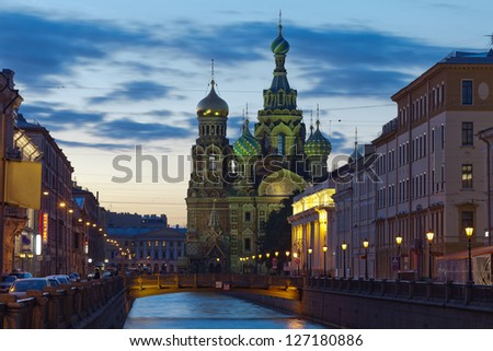 One of the wonderful views of St. Petersburg White Nights. Church of the Savior on Blood is located in the historic center of St. Petersburg on the bank of the Griboyedov Canal - stock photo