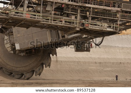 One of the world's largest  digging lignite (brown-coal) in of the world's deepest open-pit mines - stock photo