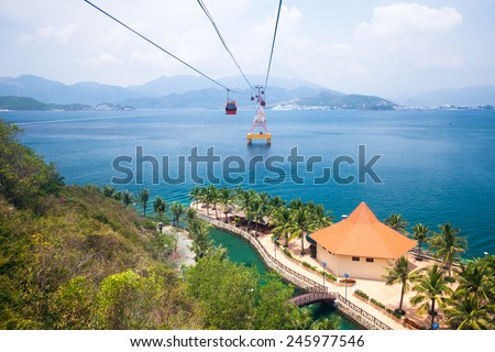 One of the world's longest cable car, leading to Vinpearl Amusement Park, view from cabin.  Nha Trang, Vietnam. - stock photo