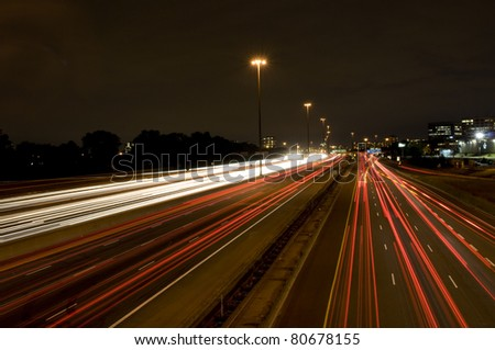 One of Toronto's Highways photographed at night. - stock photo