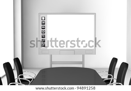one office room with an interactive whiteboard (3d render) - stock photo