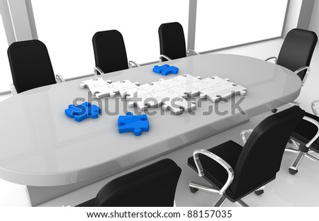 one office room with puzzle pieces that build something (3d render) - stock photo