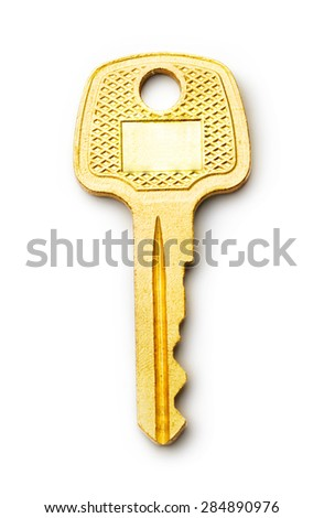 One old steel key vertical in closeup