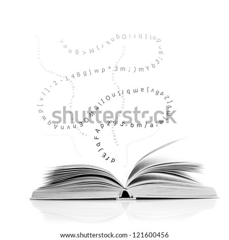 One open book with letters and number, education concept - stock photo