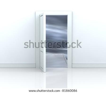 one open door with a bridge toward a dark sky ( 3d render) - stock photo