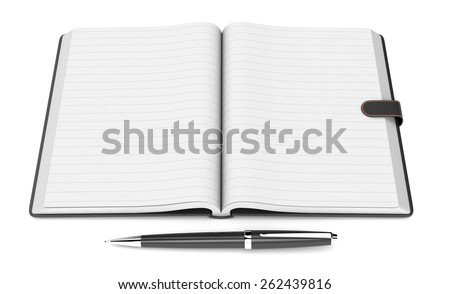 one open paper notebook with blank pages and a pen, on white background (3d render) - stock photo