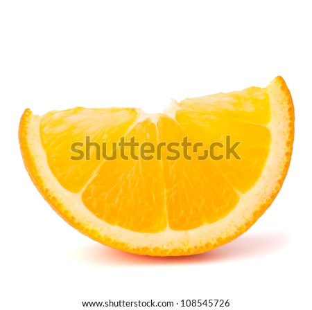 One orange fruit segment or cantle isolated on white background cutout - stock photo