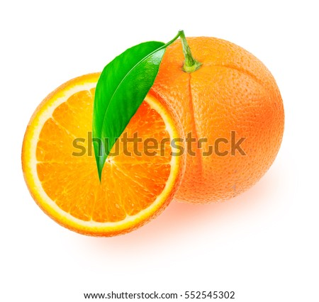 One orange fruit with leaf and a slice isolated on white background