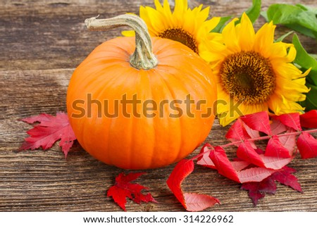 one orange pumpkin with sunflowers and red fall leaves on wooden textured  table  - stock photo