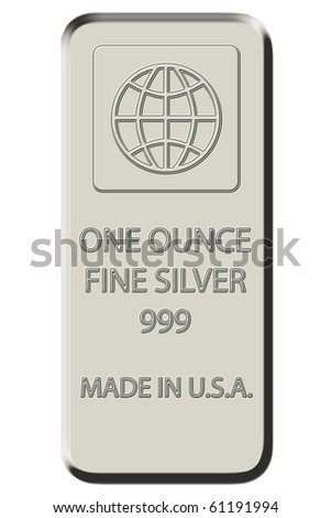 One Ounce Fine Silver Bar - silver color - stock photo