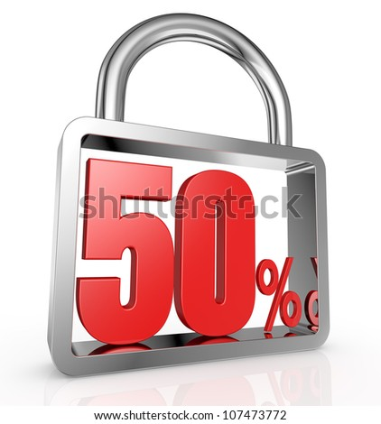 one padlock with the number fifty and the percent symbol inside it (3d render) - stock photo