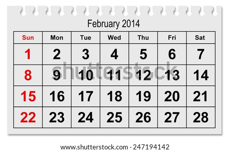 one page of the annual calendar - month February 2015 - stock photo