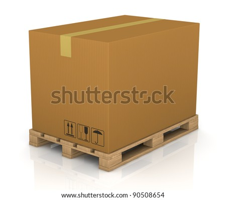 one pallet with a big carton box (3d render) - stock photo