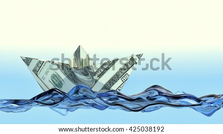 one paper boat made with dollar banknotes on a stylized water, concept of business and finance (3d render) - stock photo