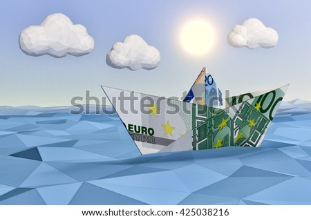one paper boat made with euro banknotes on a calm sea and a bright sun, concept of finance security, low-poly style (3d render) - stock photo