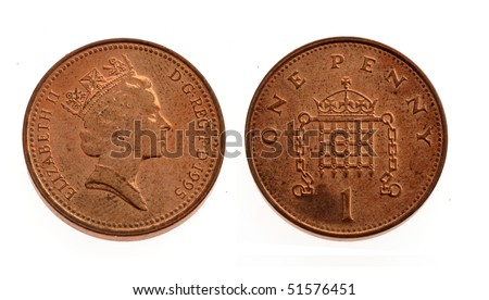 One penny coin over a white background - stock photo