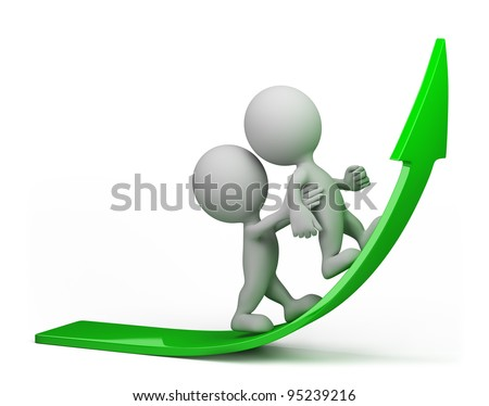 one person helps another to climb up on the green arrow. 3d image. Isolated white background. - stock photo