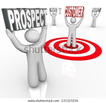 One person is targeted in a bulls-eye among many prospects to symbolize sales efforts to convert more consumers to purchase your product - stock photo