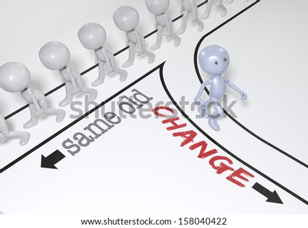 One person makes a change to a new different direction from crowd of people - stock photo