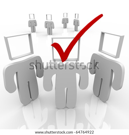 One person stands out from the crowd, and he is selected as the chosen one - stock photo