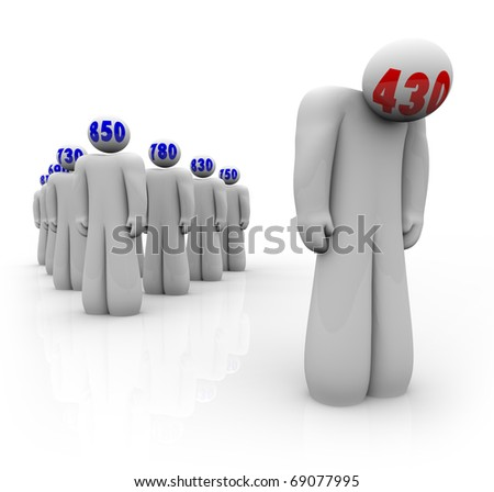 One person with a bad credit score stands apart from many others with good scores - stock photo