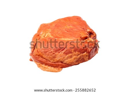one piece of smoked pork meat on the white background