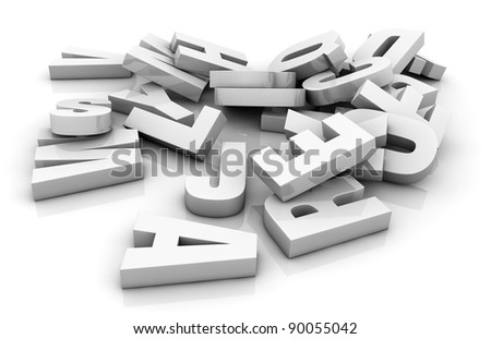one pile of white letters (3d render) - stock photo