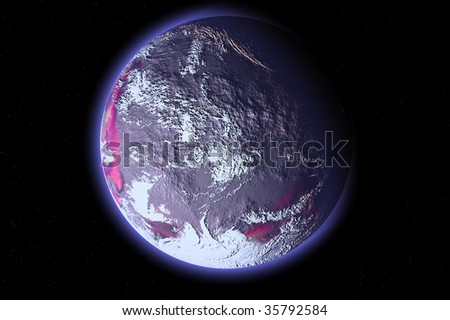 one planet in deep space7 - stock photo