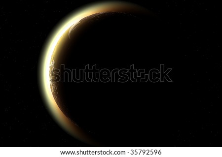 one planet in deep space11 - stock photo