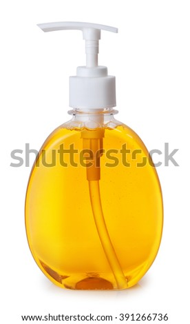 one plastic bottle with orange liquid soap with pump isolated on white background - stock photo