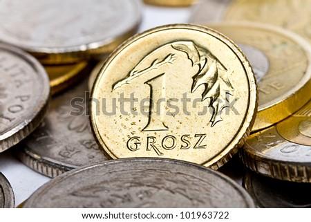One Polish grosz coin - stock photo
