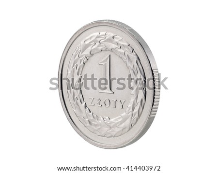 One Polish Zloty coin isolated on white with clipping path  - stock photo