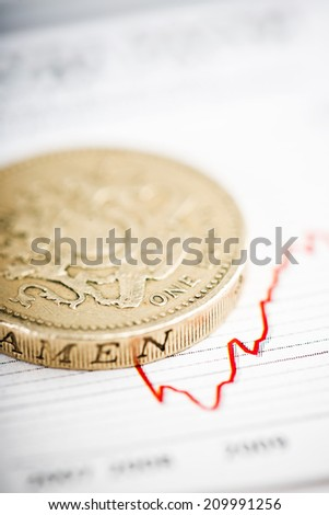 One pound coin on fluctuating graph. Rate of the pound sterling (shallow DOF)  - stock photo