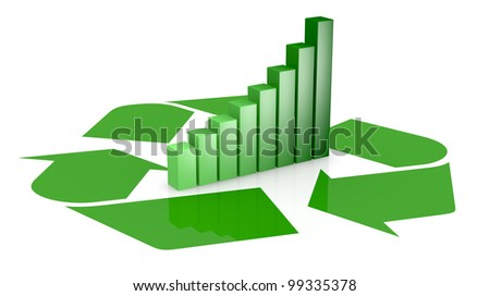 one recycling symbol with a bar chart in center of it, that means growing of concepts of eco sustainability (3d render)