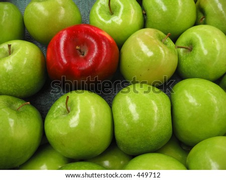 One red apple among lots of green apples - stock photo