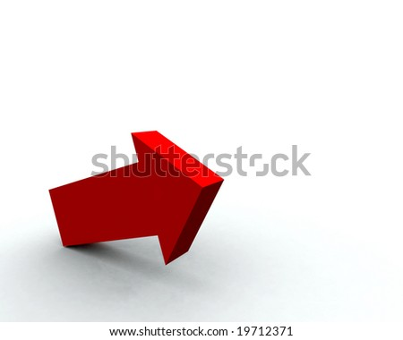One red arrow pointing up and to the right - stock photo