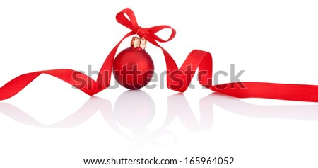 One Red Christmas ball with ribbon bow Isolated on white background - stock photo