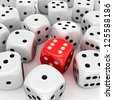 One red die with the number six in the heap of unlucky white dices - stock photo