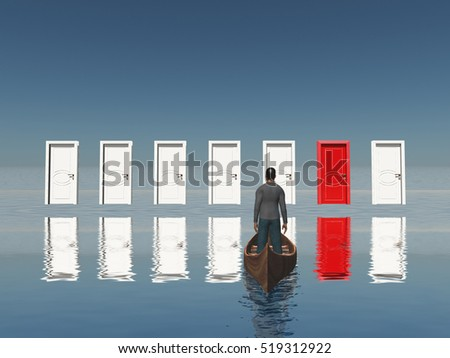 One red door among seven floating doors. Man in a boat.   3D Rendered