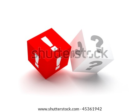 One red exclamation mark between an array of grey question marks that symbolizes solution, decision etc. Isolated on wihte