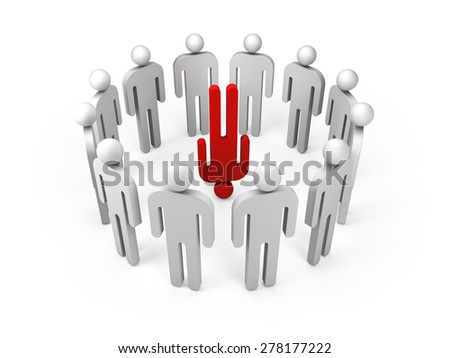 One red extraordinary person is standing on his head in a ring of ordinary 3d people figures, illustration isolated on white