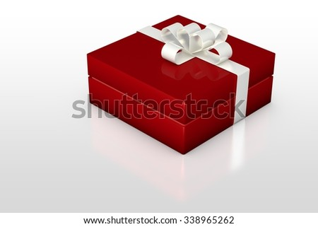 one red gift box with white ribbon isolated on white background