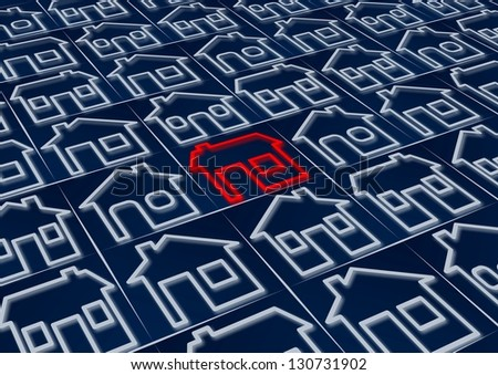 One red house icon among a group of blue house icons / Hot property - stock photo