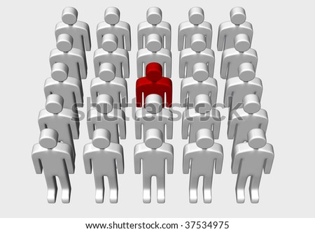 One red man standing out in a group of white men, 3D