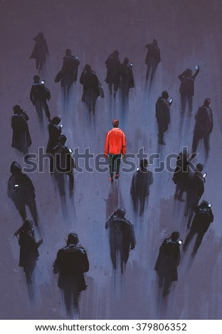 one red man standing with other people with phone,unique person in the crowd,illustration - stock photo